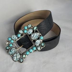 Leatherock black leather belt, turquoise stones, M